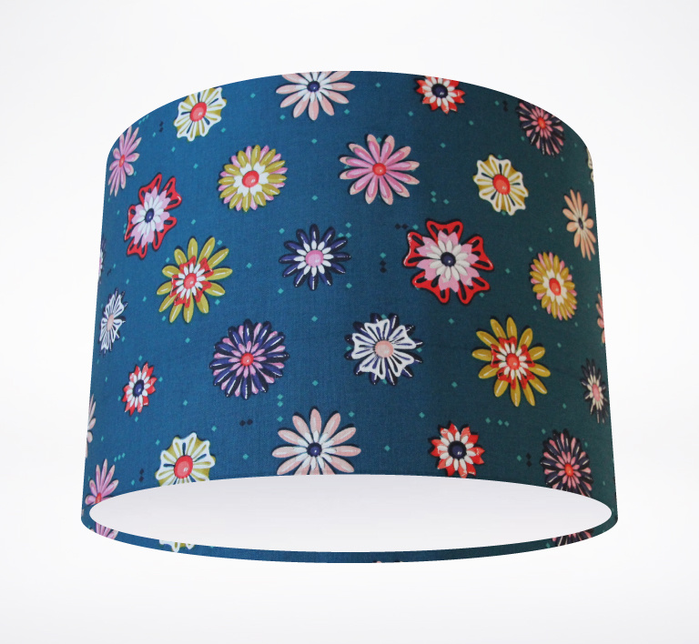 picnic_teal_flowers_lampshade