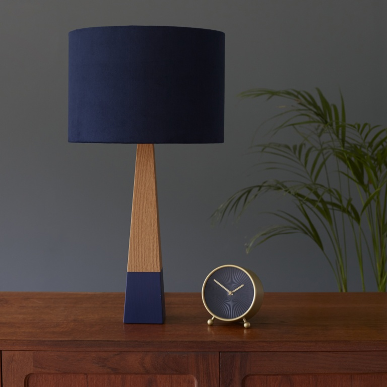 Indigo Blue Velvet Lampshade and Blue Oak Lamp base