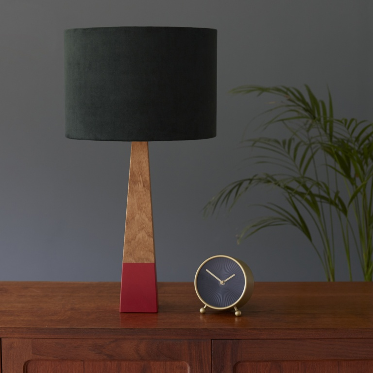 Hunter Green Velvet Lampshade and Red Oak Lamp Base