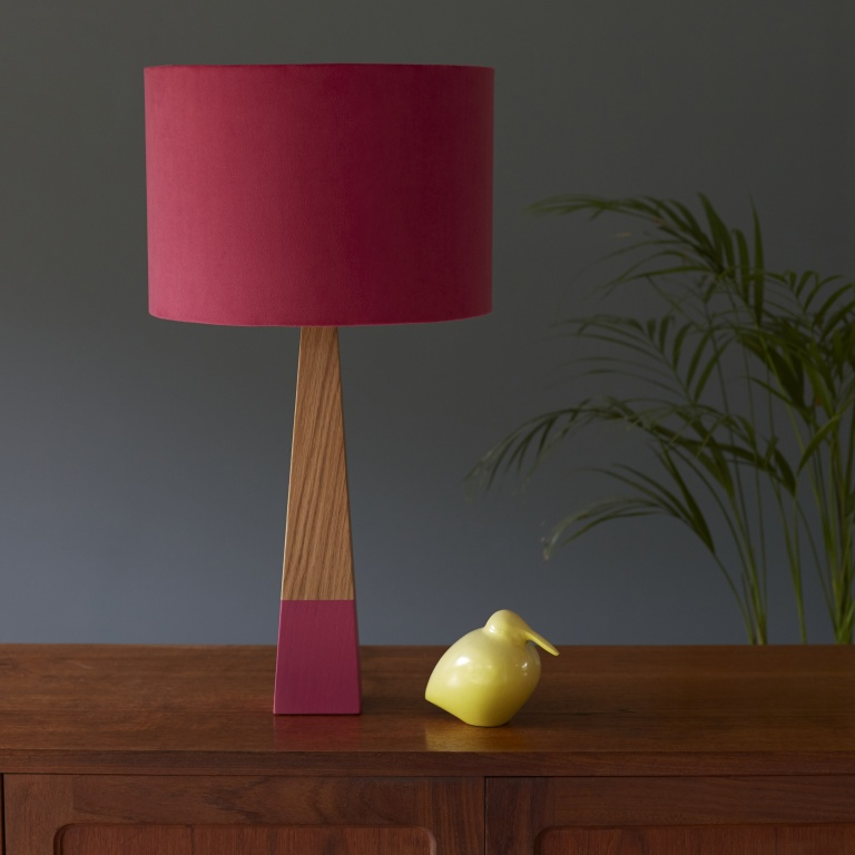Peony Velvet Lampshade and Oak Lamp Base