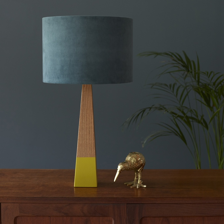 Aqua Velvet Lampshade and Lime Oak Lamp Base