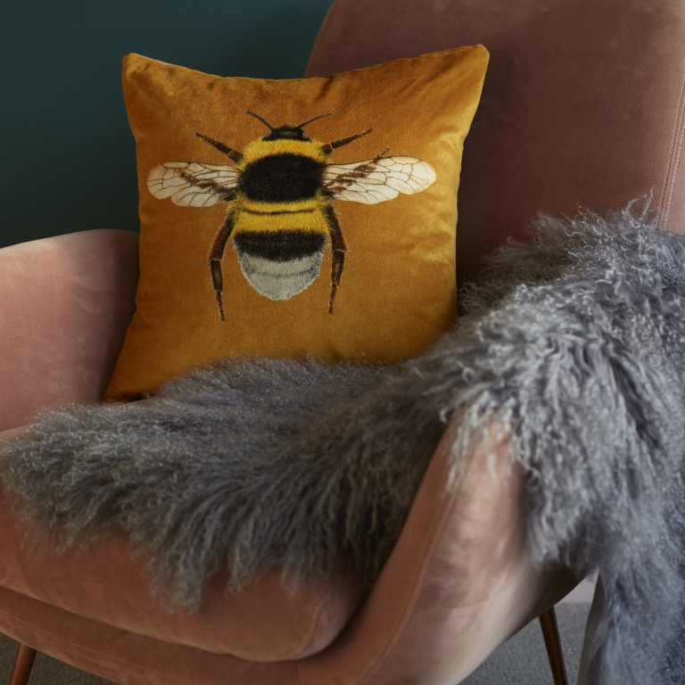 Gold / Mustard Velvet Bee Cushion