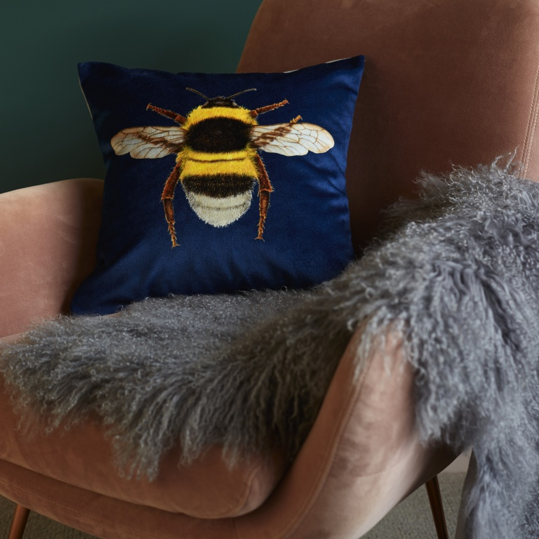 Bee Cushion Navy