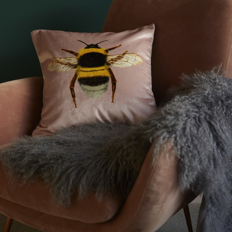 Blush Pink Bee Cushion