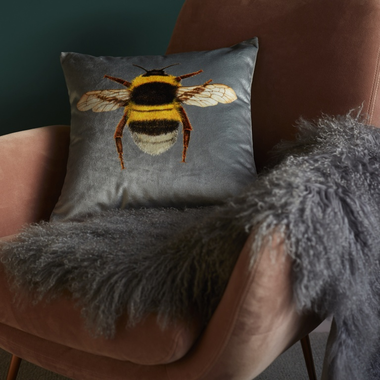 Bee Cushion Silver Grey