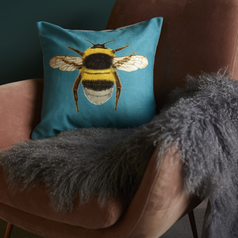 Velvet Bee Cushion - Turquoise