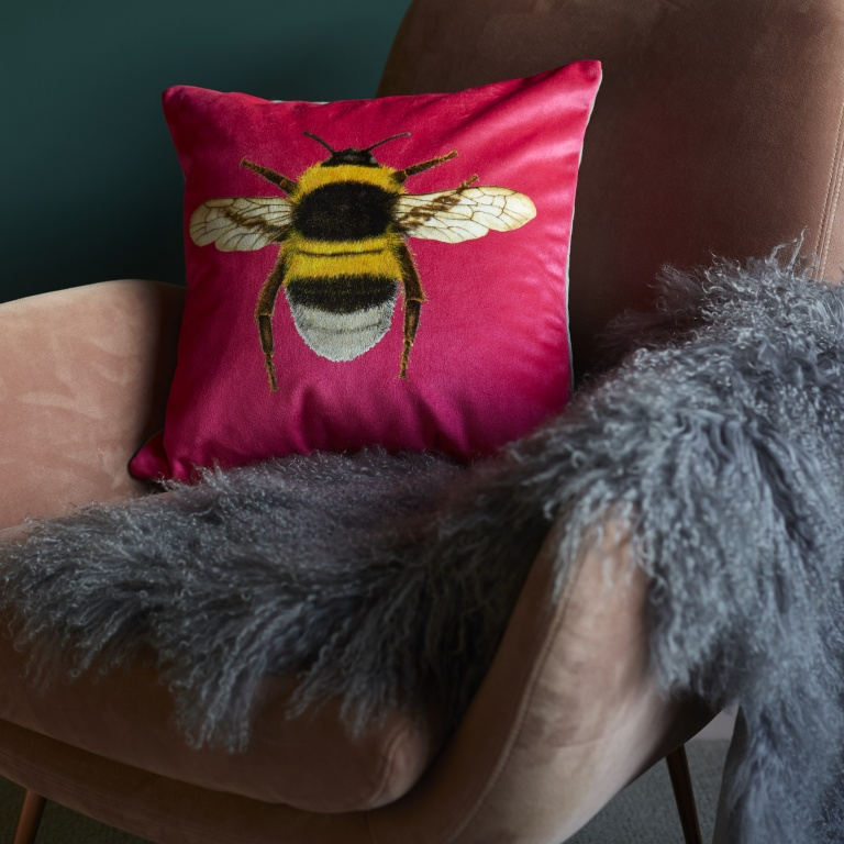 Pink Velvet Bee Cushion