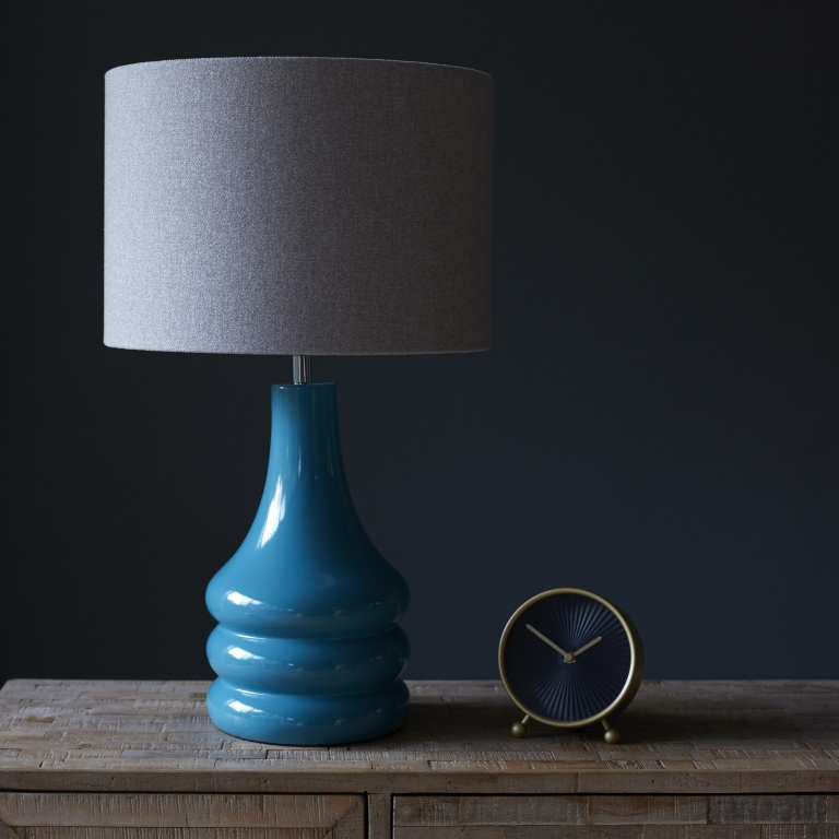 Teal Retro Lamp Base with Wool Lampshade
