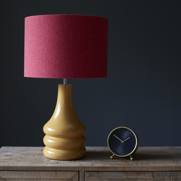 Mustard Yellow Lamp with Pink Wool Lampshade