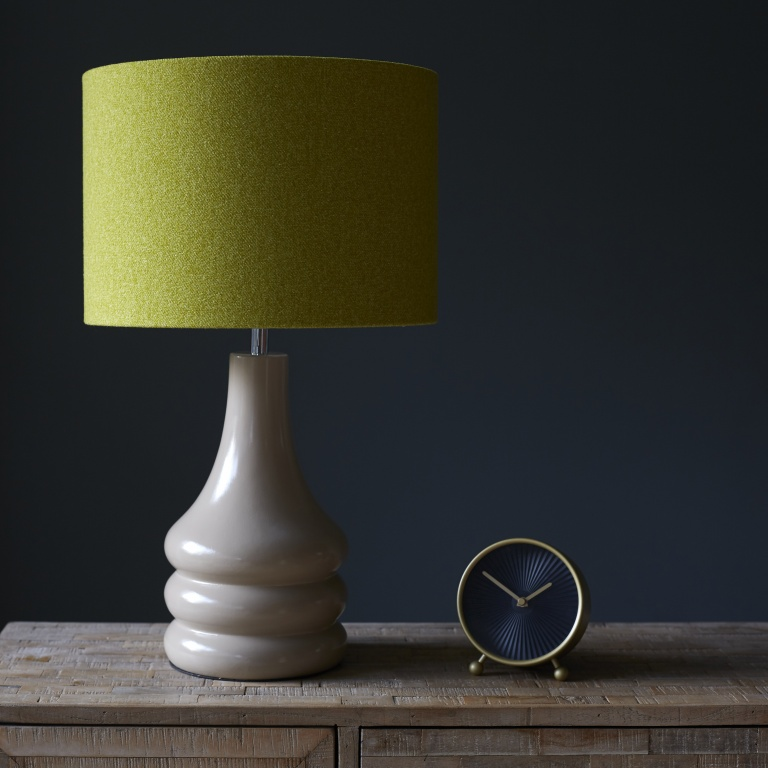 Retro Putty Lamp Base with Lime Wool Lampshade