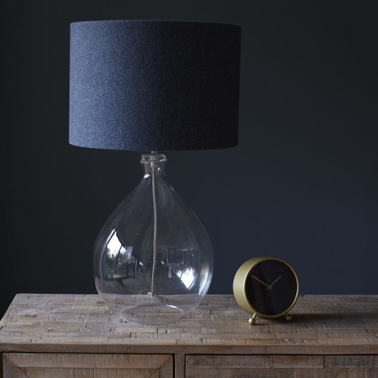 Oval Glass Table Lamp - Clear with wool lampshade