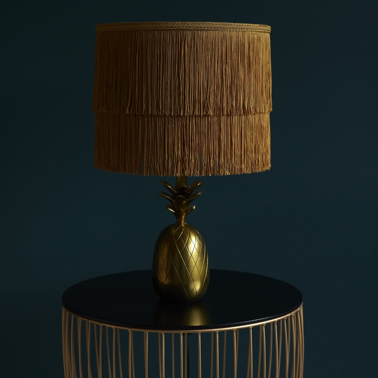 Gold Two Tiered Luxury Fringed Tassel Lampshade