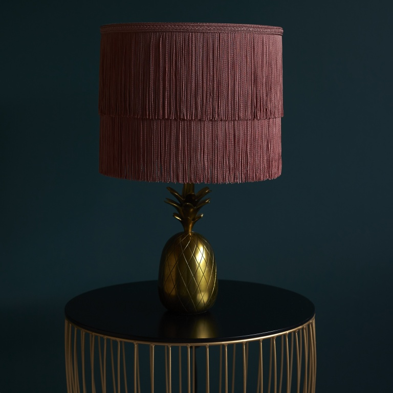 Dusky Pink Two Tiered Luxury Tassel Fringed Lampshade