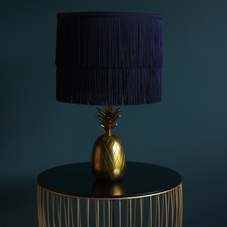 Indigo Blue Two Tier Tassel Luxury Lampshade