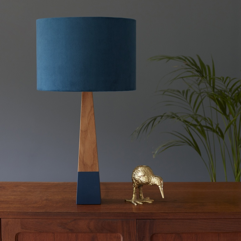 Teal Velvet Lampshade and Oak Lamp Base