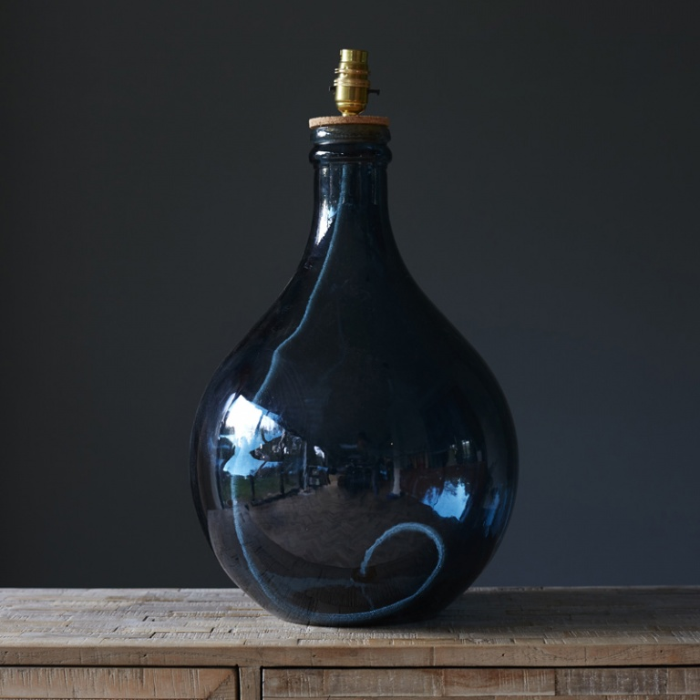 Recycled Glass Table Lamp Petrol Blue