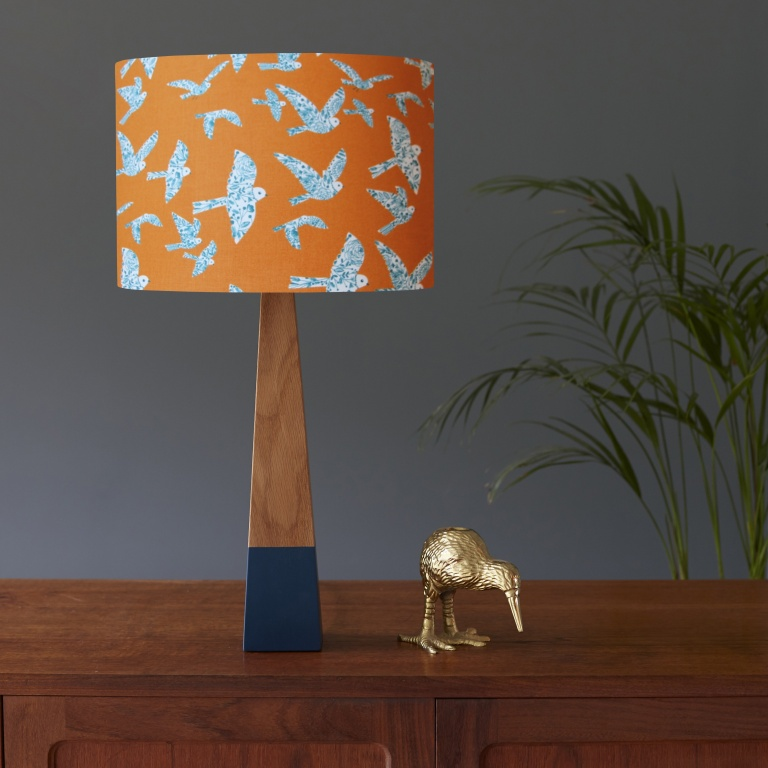 Flock Orange Birds and Teal Oak Lamp