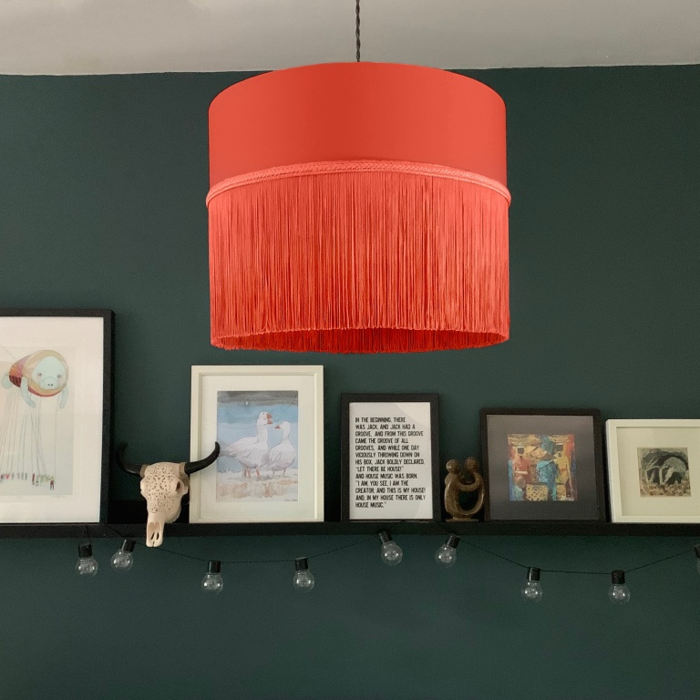 Long Fringe Ceiling Shade 3 Coral