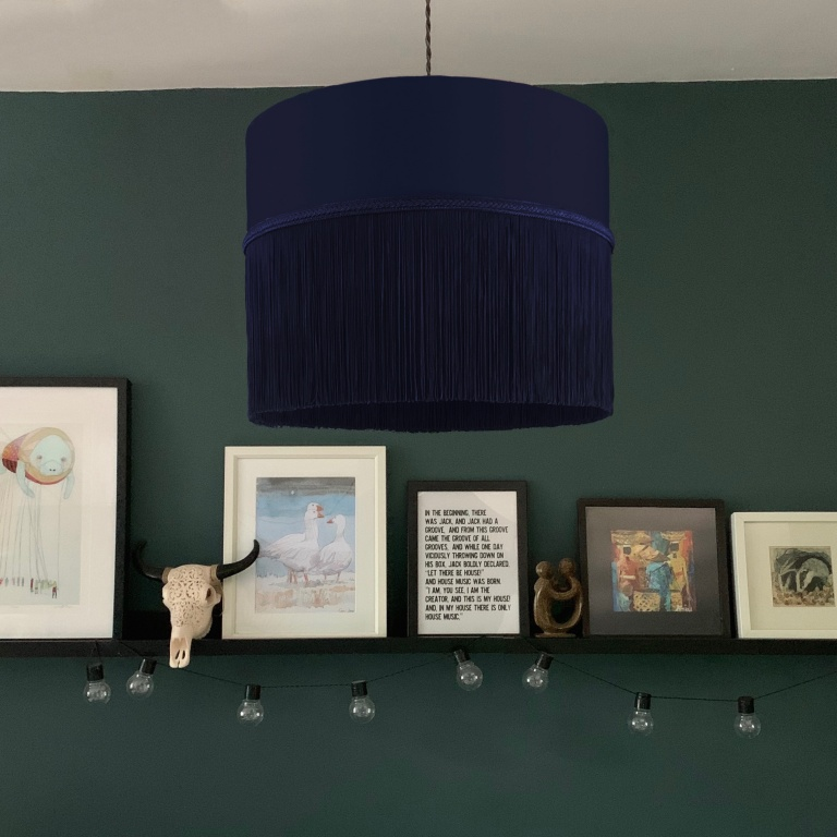 Long Fringe Ceiling Shade 3 Navy