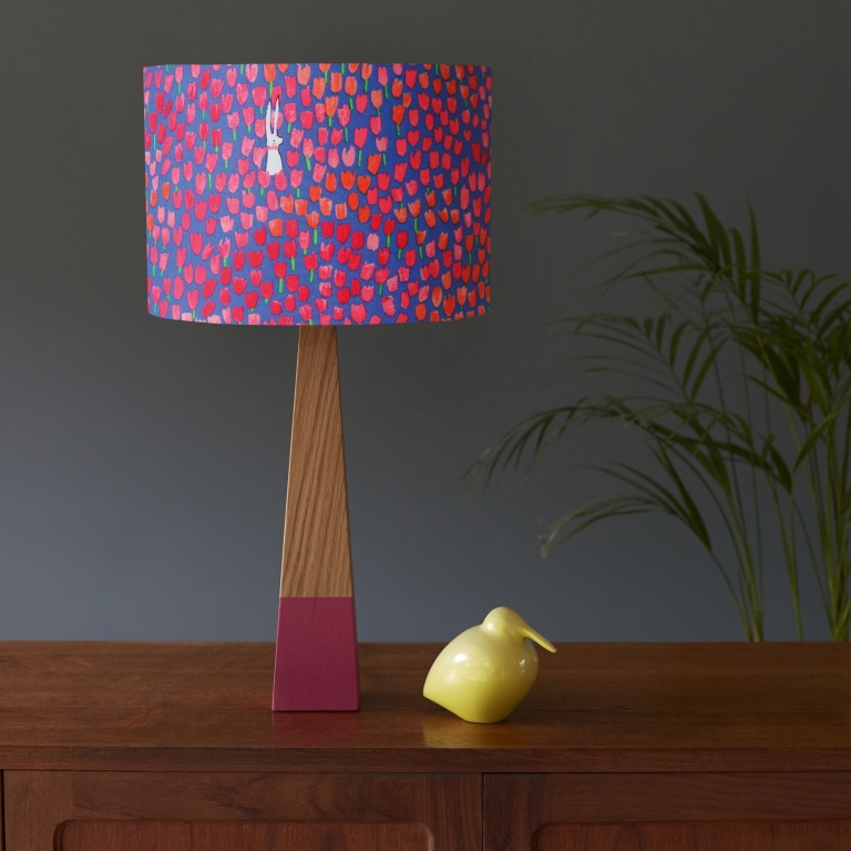 Poppies and Oak Pink Lamp