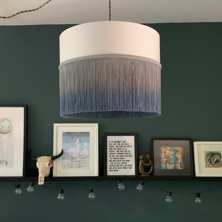 Tassel Dip Dyed Blue Grey Lampshade 1