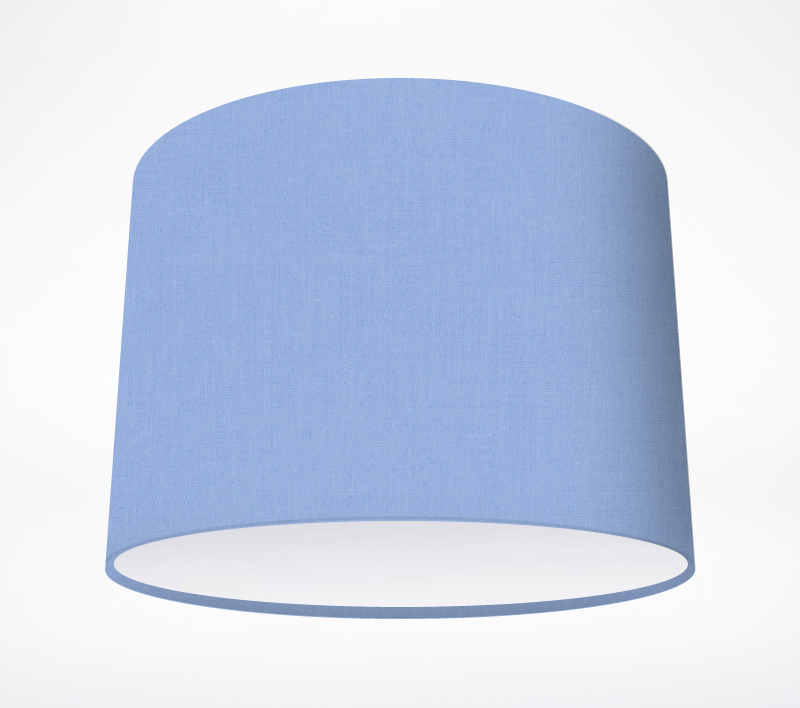 blue lampshades and table lamps